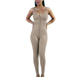FRONT OPENING BODY SHAPER WITH LEGS AND PRE-MOLDED CUP
