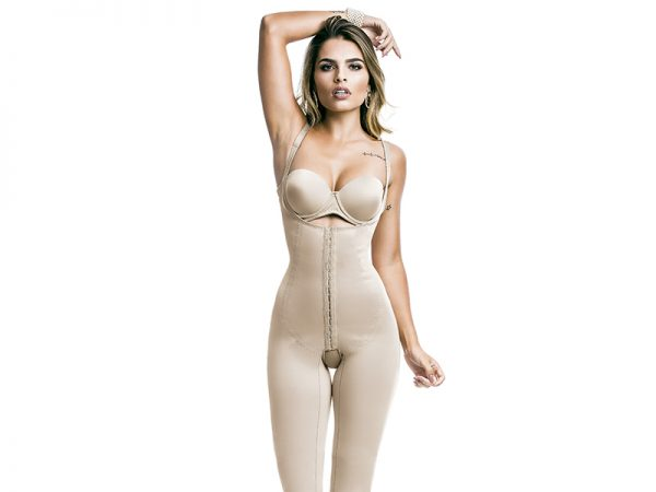 below knee braless body shaper with front opening