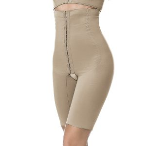 above knee body shaper, front opening with high waist