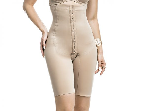 high waist above knee compression garment with lycra over the buttock area