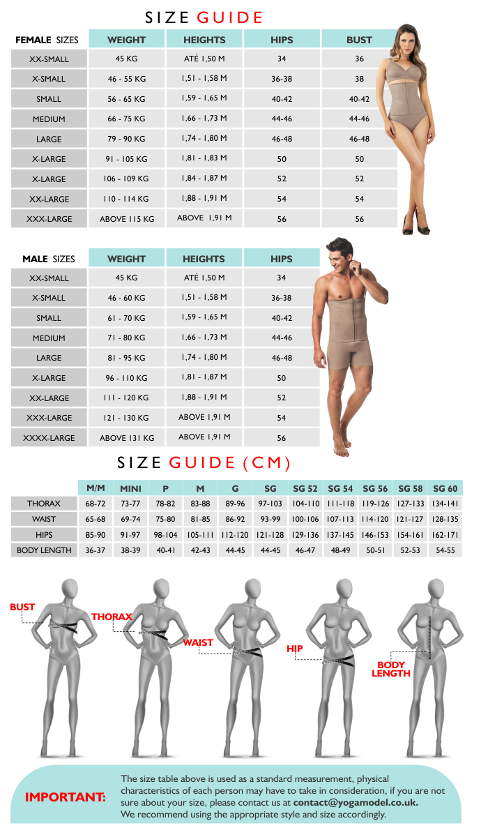 sizeguide_yoga_table LEGLESS BODY SHAPER WITH PADDED BRA - 3001DB
